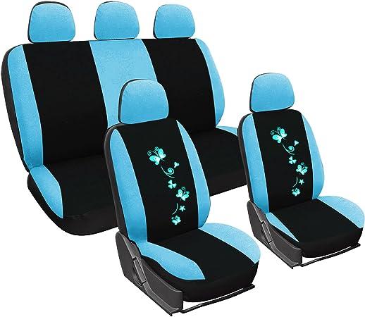 Woltu As7250bl Sitzbezüge Auto Schonbezüge Universal Größe Butterfly Stickerei Schwarz Blau Auto
