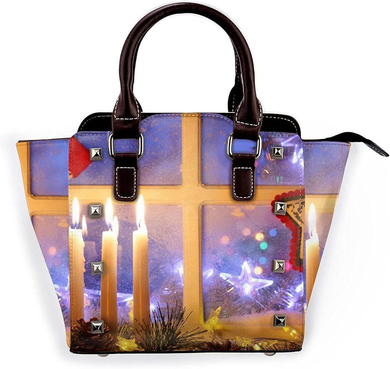 Ladies Cheap mail order shopping Leather Rivet Shoulder Picturehandbag Christmas Bag Merry shop