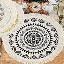 Ailsan Cotton Woven Tassel Fringe Placemat Boho Mandala Colorful Printing Macrame Table Placemat Set of 4 Round Circle 13 ...