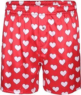 Men's Silk Lips Print Frilly Shiny Satin Boxer Shorts Lounge Underwear Halloween