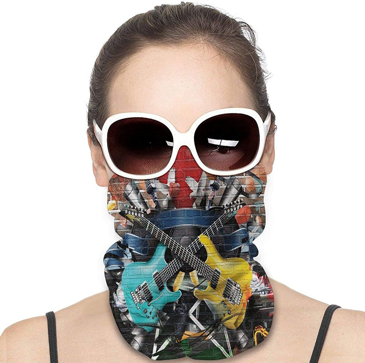 Tidyki Motorcycle Masks for Men - Guitar Graffiti Music Street Wall Art Motorcycle Mask Bandana Face Mask Multifunctional Headwear Head Bands Neck Warmer Men Headwear Sun Mask