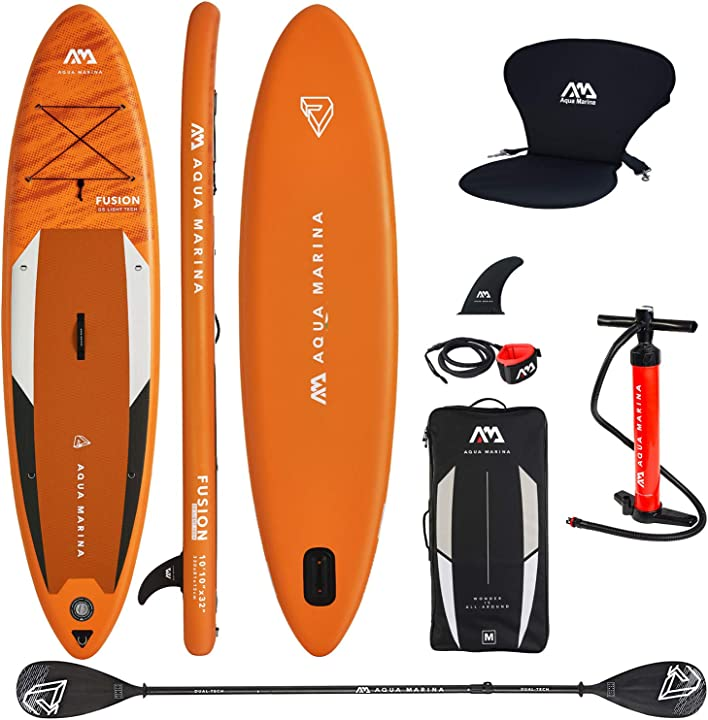 Tavola da skateboard, gonfiabile aquamarina fusion 2019 , 315 x 76 x 15 cm, con seduta kayak e doppia pagaia BT-21FUP
