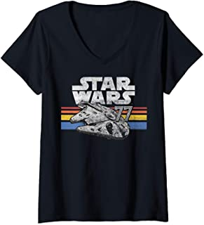Femme Star Wars Millennium Falcon 77 Retro Lines Logo T-Shirt avec Col en V