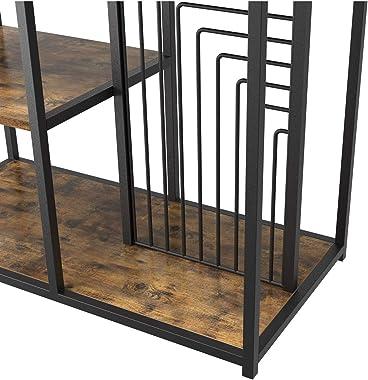 IRONCK Industrial Bookcase and Bookshelf 4 Tier, Wood Metal Shelving Unit, Floor Standing Storage Rack for Living Room Office Study Kitchen, Vintage Brown