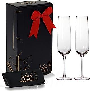 LaVienVin Champagne Glasses Set of 2, 7 Oz Stemmed Flutes in Premium Wine Gift Box, Dishwasher Safe Glassware Sets with St...