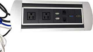 Pwr Plug Connectivity Box Power Hub Module Conference Table in-Desk Media Center USB HDMI Grommet UL Listed (Black)