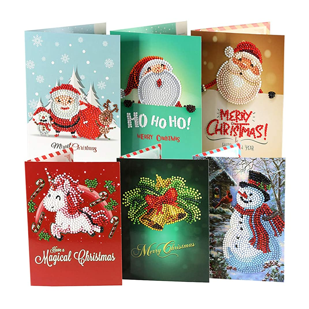 qiaoniuniu Christmas Santa Cards Diamond Painting for Kids 5D Rhinestone Painting by Number Kits Mosaic Making - 8 Packages Arts Crafts Greeting Cards