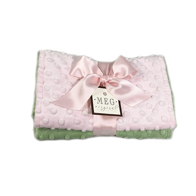 Long-awaited MEG Original Year-end annual account Minky Dot Baby Girl Cloth Green Burp Pink Set