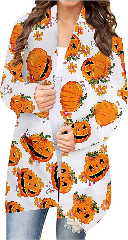 Fashion for Curvy Women Halloween Print Long Sleeve Cardigan Autumn Coat Blouse Tops