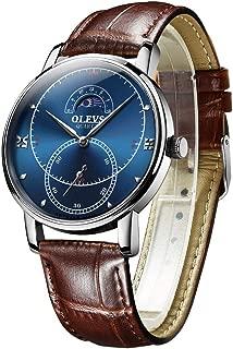 Men's Watch Moon Phase 30M Waterproof Analog Quartz Wristwatch Cool Style Big Boys Watches Brown Genuine Leather Strap
