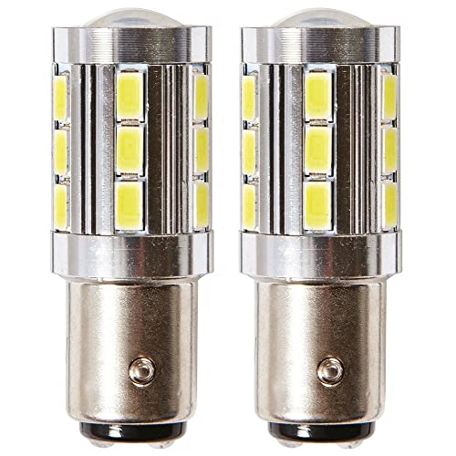 2x POSITIVE EARTH BAY15D RED STOP TAIL LED 2835 15 SMD BRAKE REAR LIGHT GLB380