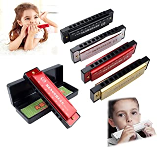 4 Pcs Harmonica for Kids, Key of C Blues 10 Hole 20 Tones Titanium Harmonica with Case, Educational Toys Beginners Toy Musical Instruments for Kids, Children and Adults (Black, Silver, Red, Gold)
