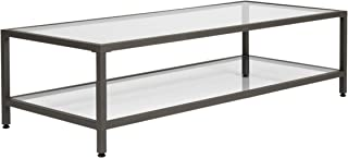 Studio Designs Home Camber Modern Rectangular Glass Coffee Table In Gray Pewter With Clear Glass, Living Room Coffee Table, 55