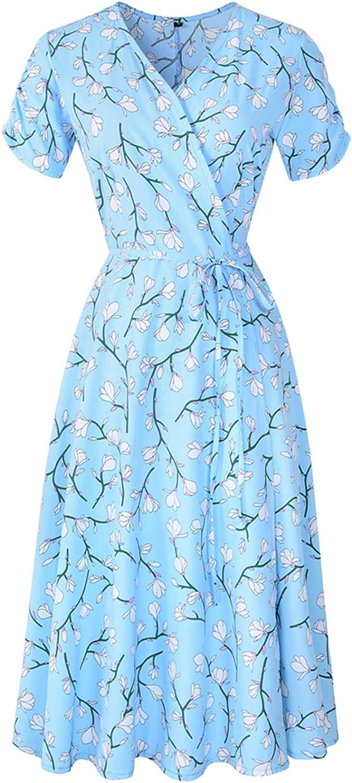 Women's Wrap Dress Summer V Neck Floral Printed Dress Short Sleeve Chiffon Mini Flowy Midi Dress