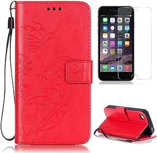 3ceb9728801 CaseHome Compatible For Apple iPhone 4/4S Funda Piel PU Cuero  Billetera,Mariposa y