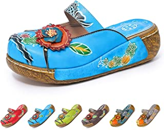 gracosy Women's Colorful Leather Slipper Backless Slip Ons Vintage Handmade Flower Boho Platform Flat Sandals Mule Clogs Shoes