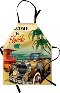 Ambesonne Florida Apron, Old Beach Picture with Vintage American Car a Visit to Touristic Coastal State, Unisex Kitchen Bib with Adjustable Neck for Cooking Gardening, Adult Size, Beige Green