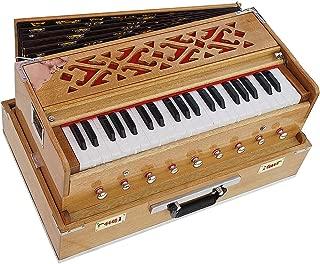 Harmonium Traveler/Portable/Folding Type By Kaayna Musicals, 9 Stops- 5 Main & 4 Drones, 3½ Octaves, Coupler, Teak Color, Gig Bag, Bass-Male Reed - 440 Hz, Suitable for Yoga, Bhajan, Kirtan, Mantra
