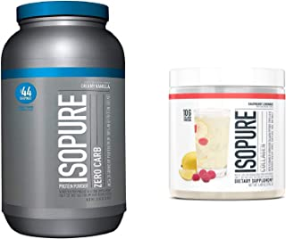 Isopure Zero Carb Protein Powder, Flavor: Creamy Vanilla (3 Pounds) with Isopure Collagen Peptides Protein Powder, Flavor: Raspberry Lemonade (15 Servings)