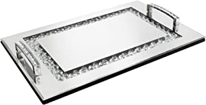 American Atelier Jeweled Decorative Tray with Handles, Silver