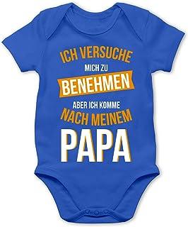 Shirtracer Ich versuche Mich zu benehmen Papa orange - Baby Body Kurzarm für Jungen und Mädchen