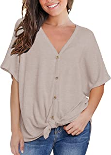 MIHOLL Womens Loose Blouse Short Sleeve V Neck Button Down T Shirts Tie Front Knot Casual Tops
