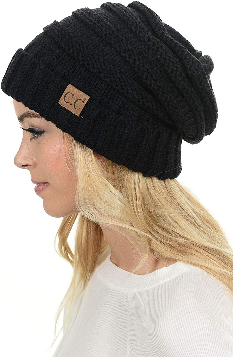 C.C Hat-100 Oversized Baggy Slouch Thick Warm Cap Hat Skully Cable Knit Beanie