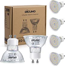 DiCUNO GU10 LED Bulb, 6W 700LM Spotlight, Equivalent to 70W Halogen Lamp, Daylight White 5000K, AC 100-240V, Not Dimmable,...