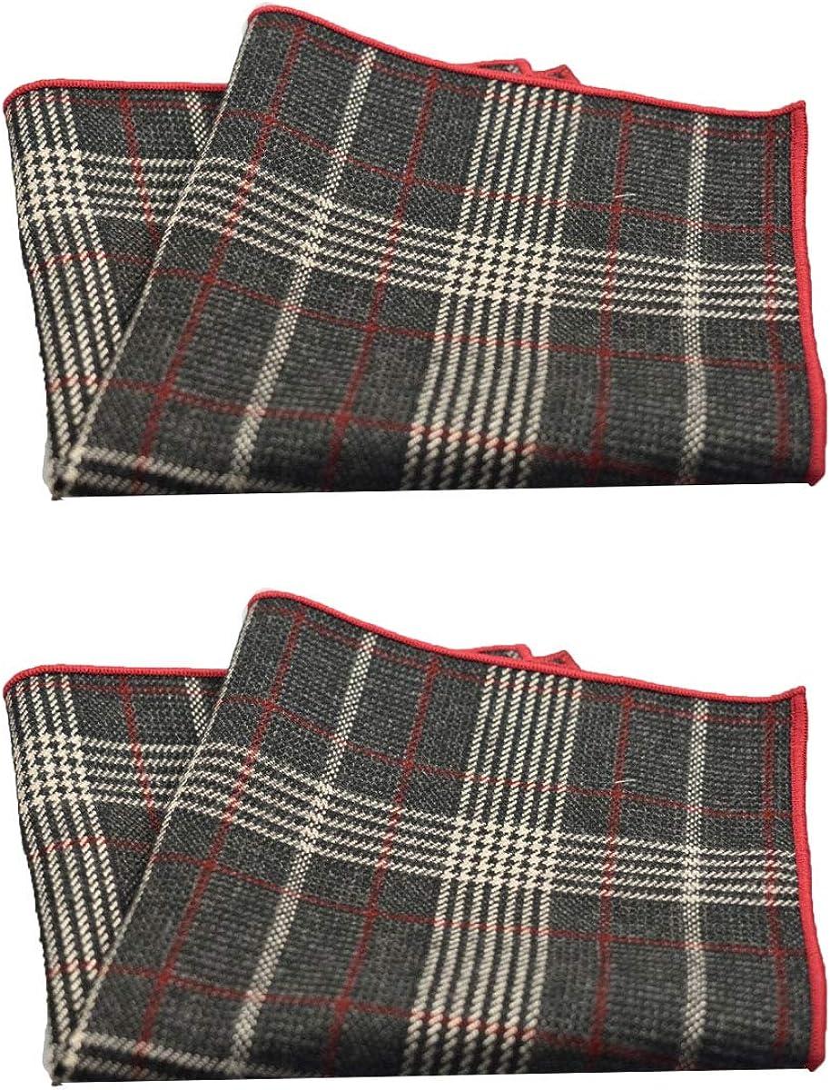 2Packs Men's 100% Cotton Retro Lattice Handkerchiefs for Casual Business