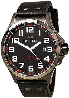 ساعة TW ستيل بايلوت TW421 رمادي من الفولاذ والجلد المطلي بمادة بي في دي - 48 ملم