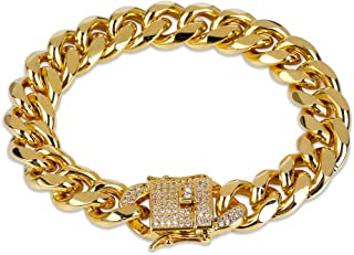 12mm 18k Gold Plated Cuban Chain Bracelet with 1ct Lab Diamond Clasp Hip Hop Bracelet