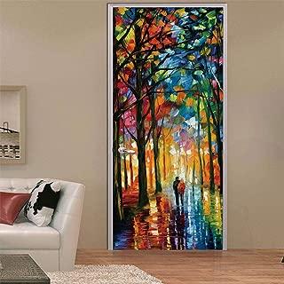 3D Door Decal Door Stickers Decor Door Mural Removable Vinyl Door Wall Mural Door Wallpaper for Home Decor(Oil Painting)