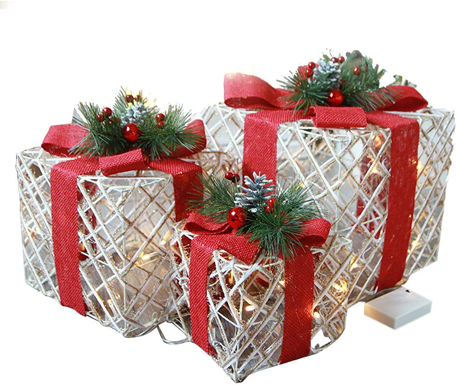 Sinwo Christmas Luminous Gift Box Home Outdoor Decoration Set of 3 Glowing Package Gift