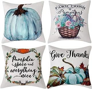 Anickal Set of 4 Fall Pillow Covers Pumpkin Farm Fresh Give Thanks Autumn Thanksgiving Theme Farmhouse Decorative Throw Pillow Covers 18x18 Inch for Sofa Couch Decor