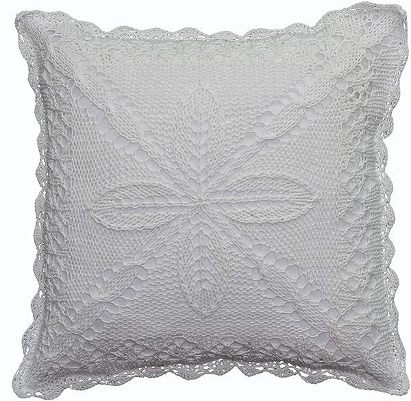Creative Linens Cotton Crochet Lace Pillow Cushion Cover 16x16 White