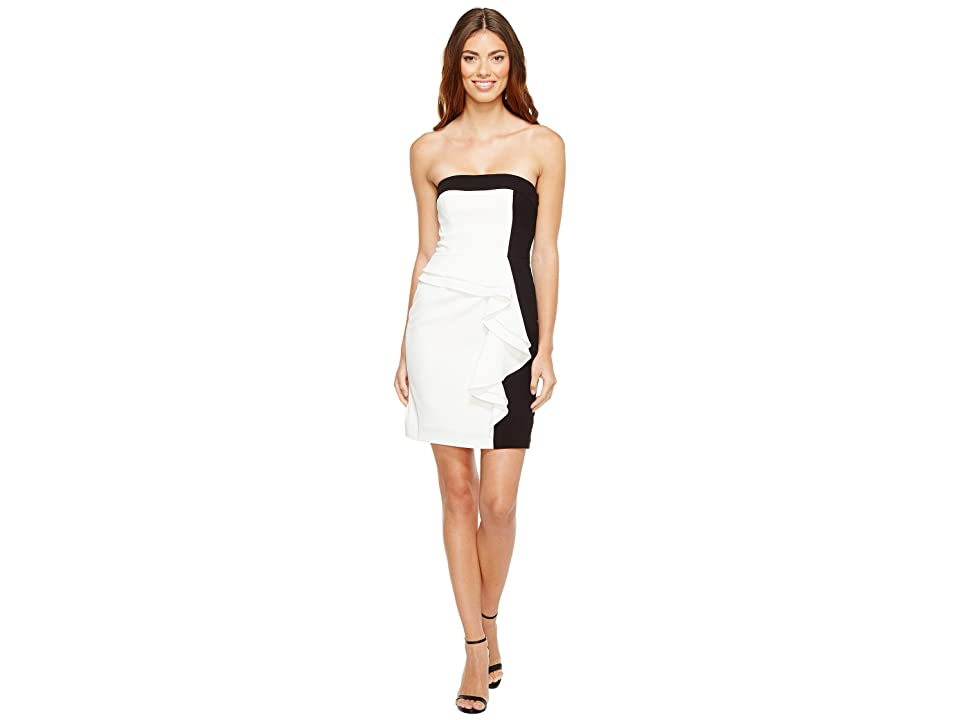Image of Aidan Mattox Color Block Strapless Cocktail Dress (Ivory/Black) Women's Dress