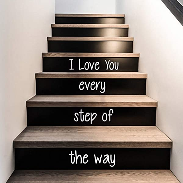 Vinyl Wall Art Decal I Love You Every Step Of The Way From 4 1 To 18 Each Love Quotes For Indoor Outdoor Stairs Stickers Decor For Family Home Stairway Decals From 4 1 To 18 Each White