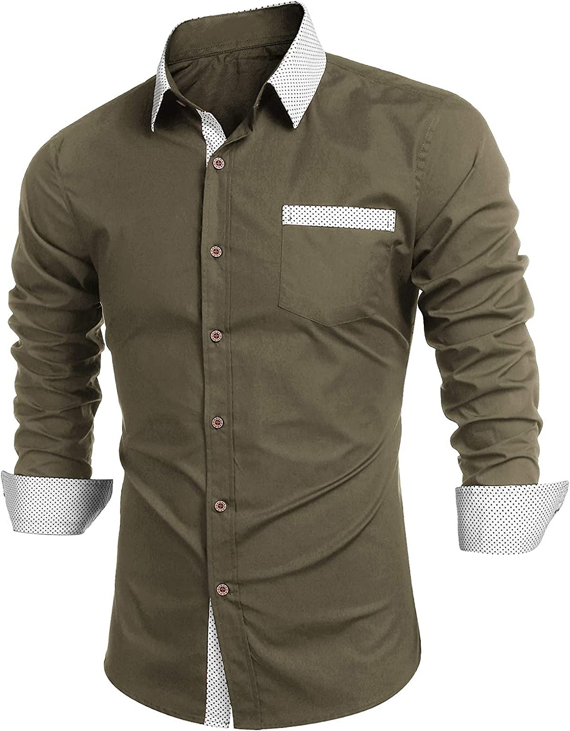 Men Long Sleeve Shirts Casual Solid Turn Down Collar Shirts Fashion Fitness Button Down Tops Business Shirts