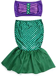 Kids Toddler Girl Mermaid Costume Two Piece Swimsuit Bikini Set Bathing Suit Mermaid Tail Skirt Outfit 2-7T