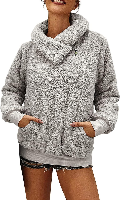 kukoosong Fashion Womens Fleece Warm Faux Coat Jacket Winter Zipper Solid Long Sleeve Turn Down Collar Pocket Sweatshirt