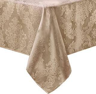 Newbridge Barcelona No-Iron Soil Resistant Fabric Damask Tablecloth - 60 X 144 Oblong - Golden Beige