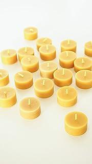 60 St. Teelichter aus 100% Bienenwachs vom Imker inkl. 1 Teelichtbehälter aus Glas