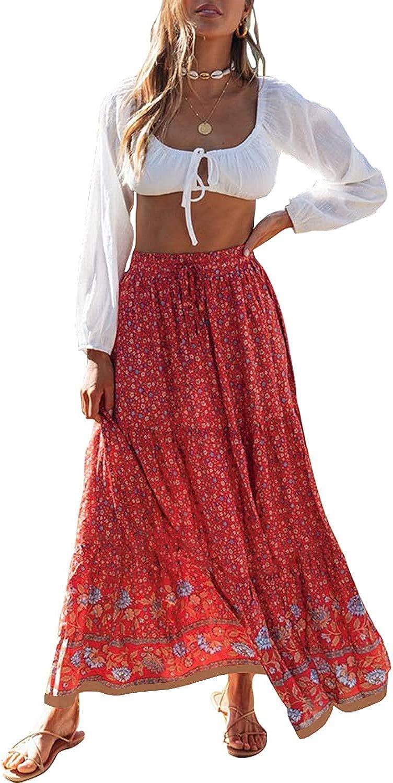 Buy ZESICA Women's Bohemian Floral Printed Elastic Waist A Line ...