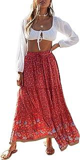 Women's Bohemian Floral Printed Elastic Waist A Line Maxi...