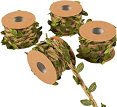 Juvale Jute Burlap Twine Vine with Artificial Leaves Garland for DIY Crafts and Decor (4 Rolls)