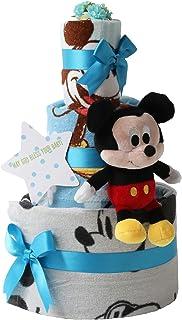 オムツケーキ 出産祝い ディズニー disney 身長計付きバスタオル 名入れ刺繍 3段 おむつケーキ ぬいぐるみ (パンパーステープタイプSサイズ, 男の子向け(ブルー系))