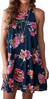 MITILLY Women's Halter Neck Boho Floral Print Loose Casual Sleeveless Short Dress