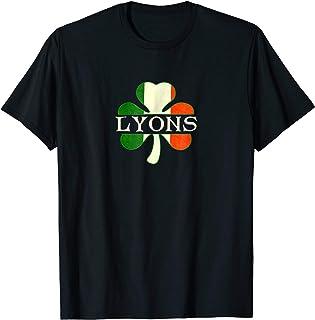 Irish Surname Lyons Last Name Shamrock Ireland Flag