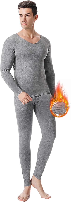 FEOYA 2 Pack Men's Thermal Underwear Sets Ultra Soft Long Johns Set Fleece Lined Base Layer for Men