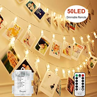Decute Upgraded 50LED Dimmable Photo Clips Lights String Holder with Remote, Timer 8 Modes Fairy Starry Lights for Christmas Card Bedroom Wedding Party Hanging Photos Pictures Memos,Warm White